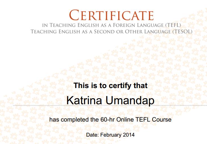Kach TEFL Certificate