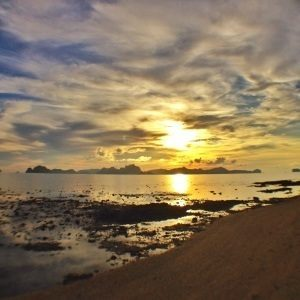 Sunset over Bacuit Bay in El Nido.