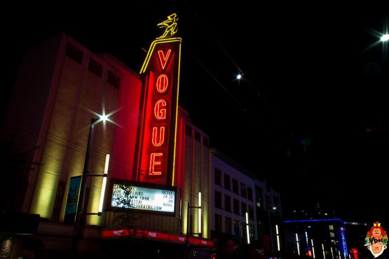7 concert venues in Vancouver, Canada. The distinct neon lighting of the Vogue Theatre.