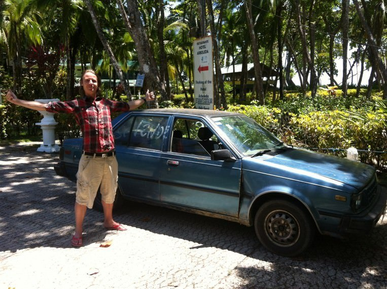 Jonathan with our Costa Rican car, Miguelito