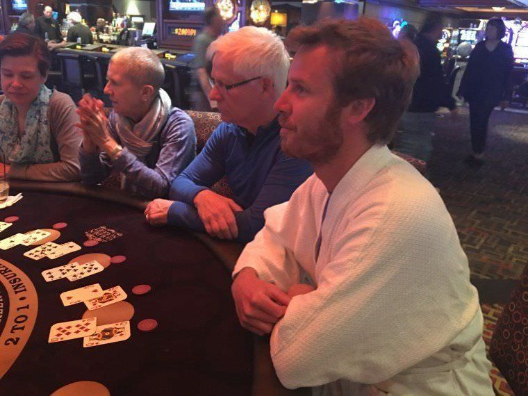 Jonathan learning how to play black jack in Golden Nugget Hotel, Las Vegas