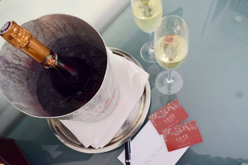 Welcome wine at Luxe Rodeo Drive Hotel