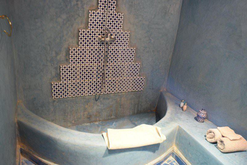 Our bathroom at Dar Qamar in Agdez, Morocco