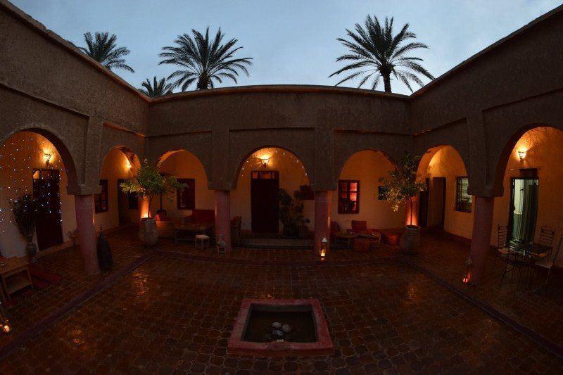 The waiting area at Dar Qamar in Agdez, Morocco