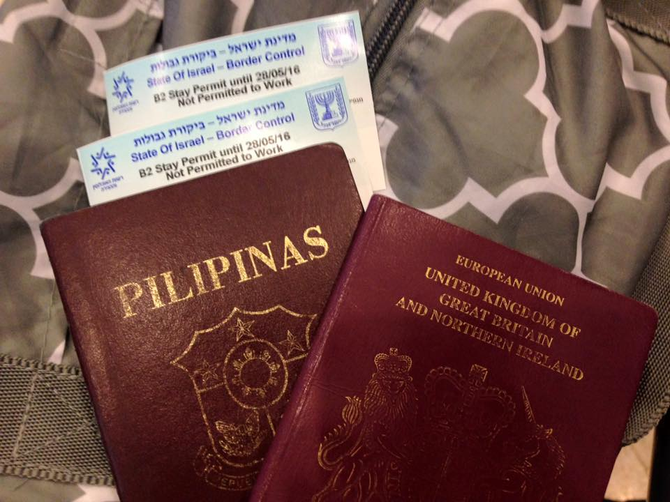Travel to Israel for Filipinos - Blue card for Entry stamp