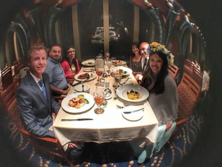 Dinner at Carnival Splendor Cruise -Caribbean Trip Kach and Jonathan