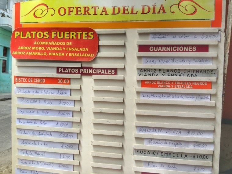Local-Food-Menu-in-Havana, Cuba
