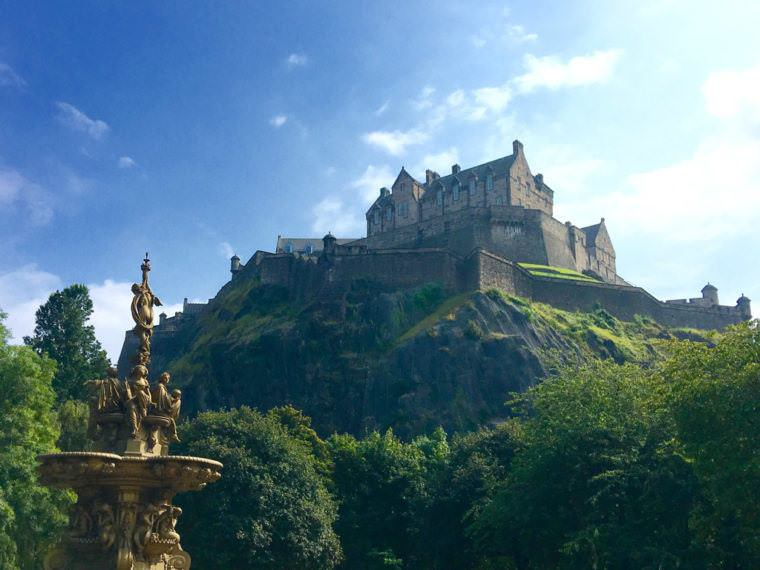 The view of Edinburgh Castle from the Princes Street Garden.
