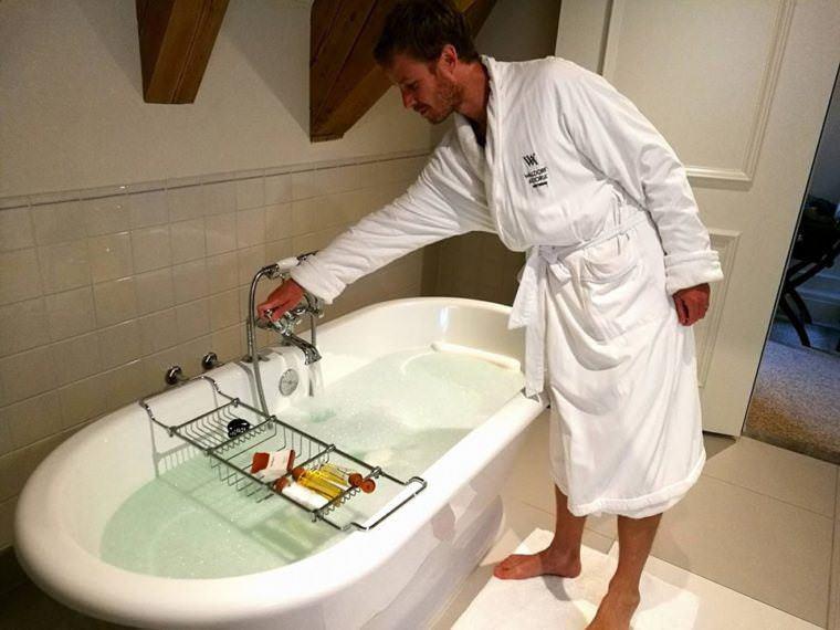 Jonathan as he prepares the tub.