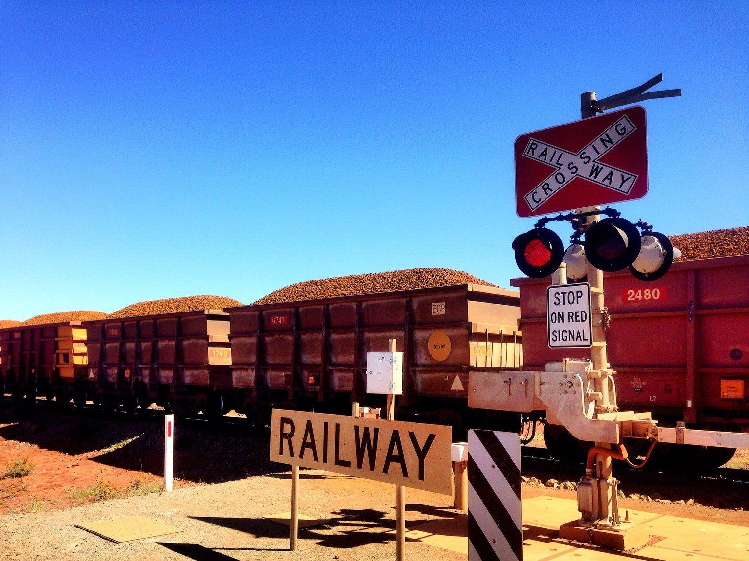 Mining trains in Pilbara, Western Australia
