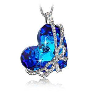 """""""Heart of the Ocean"""" Bowtie Pendant Necklace made with SWAROVSKI Crystal"""