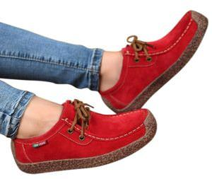 XIU XIAN Women Snail Casual Lace-up Genuine Leather Flat Sneaker Shoes