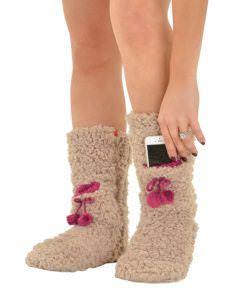 Women's Slipper Socks with Phone Pocket Taupe Slipper Boots Fluffy Fleece Socks