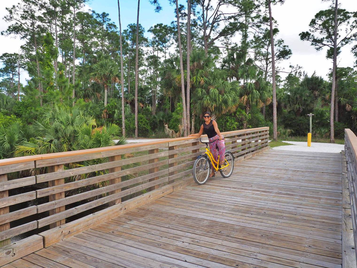 Cycling in Riverbed Park with Canoe Outfitters