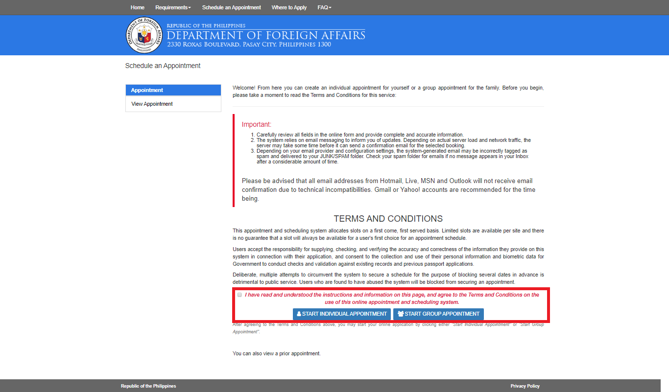 DFA Online Appointment to Get a Passport1