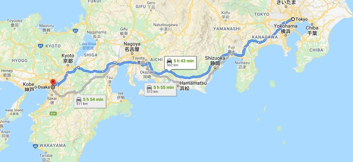 How to get from Tokyo to Osaka in Japan