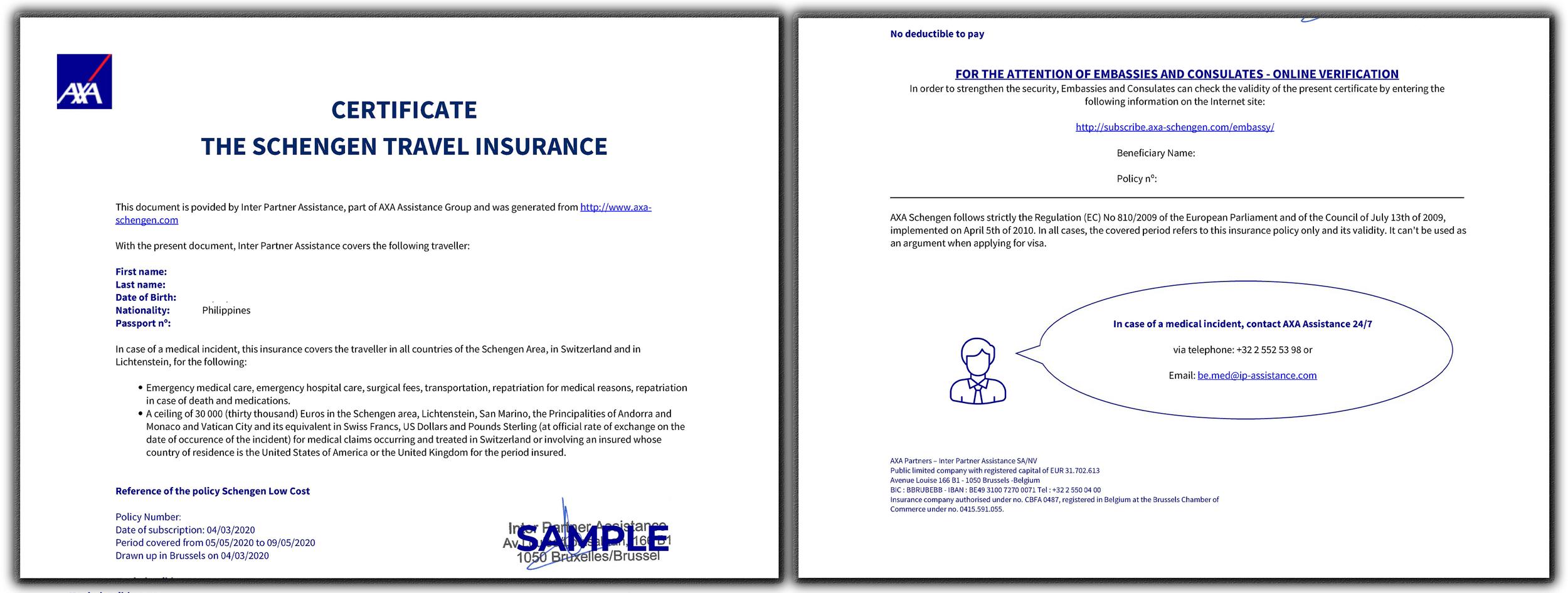 AXA Schengen Insurance