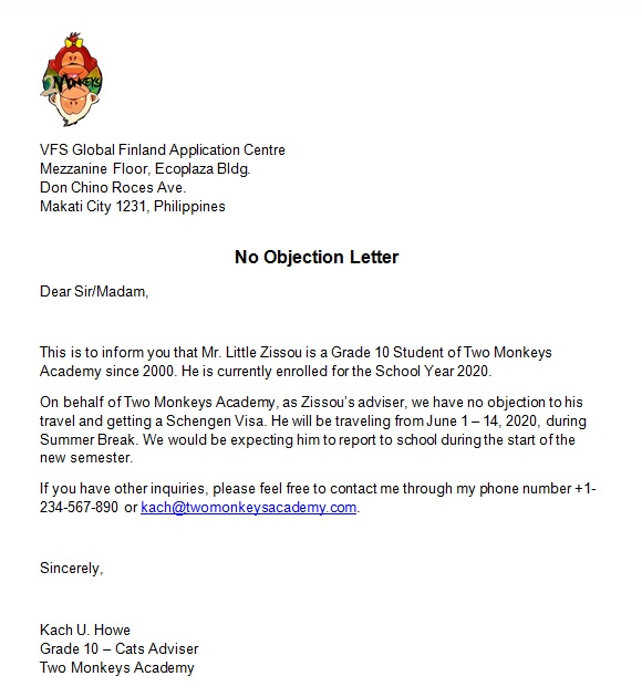 No Objection Letter Template for your Visa Application