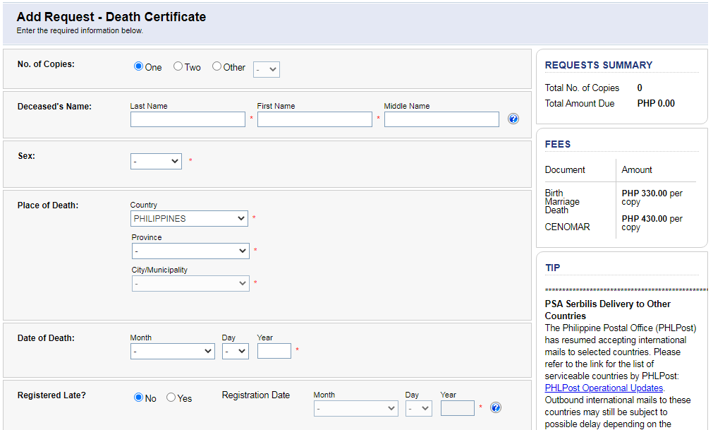 How to get a PSA Death Certificate (Walk-In or Online)
