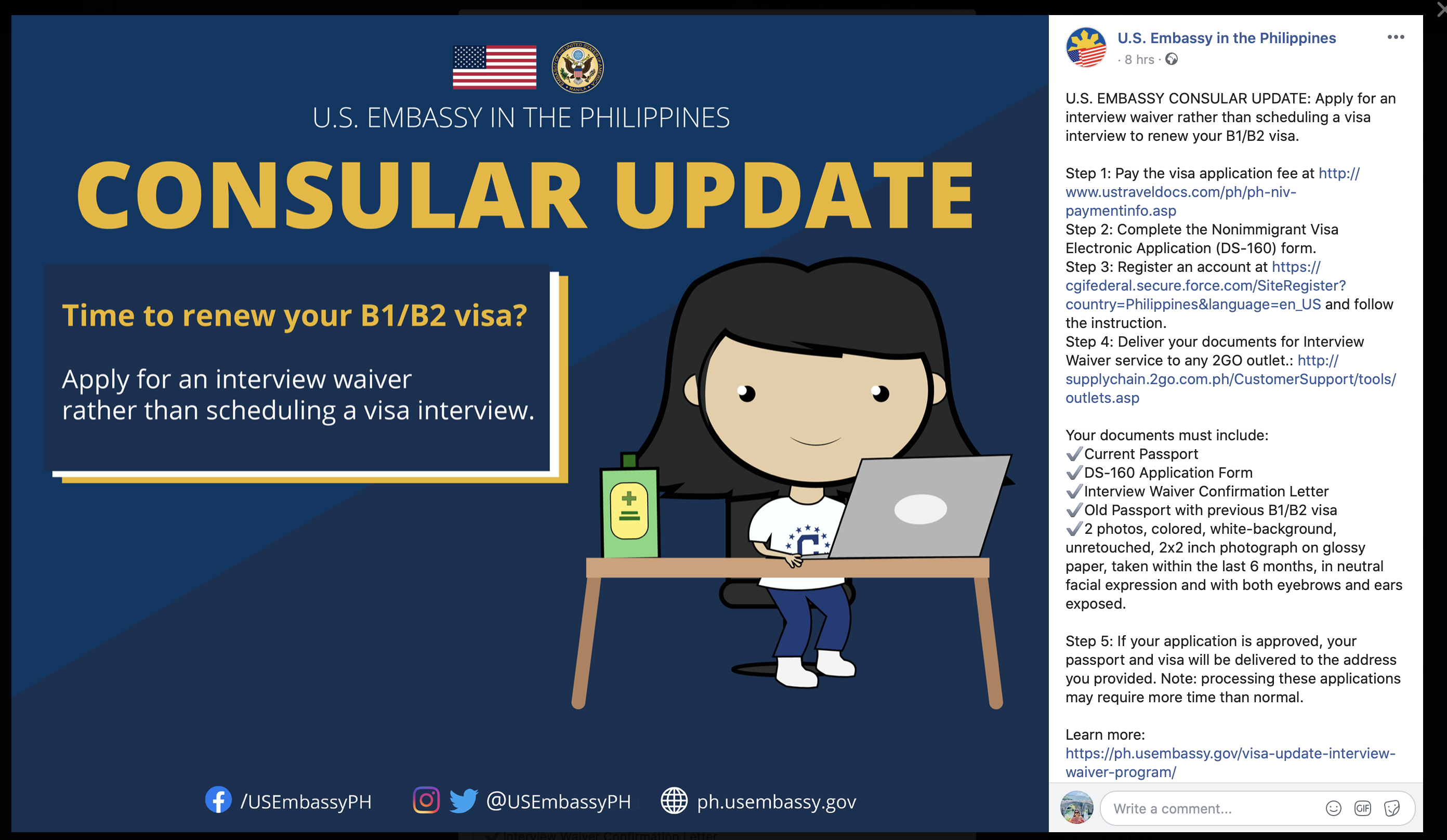 USA Embassy Philippines Interview Waiver Program
