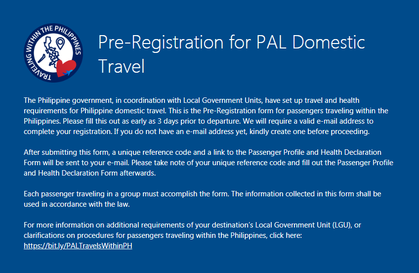 Philippine Airlines (PAL) Passenger Profile and Health Declaration (PHHD) Form for Domestic Travelers