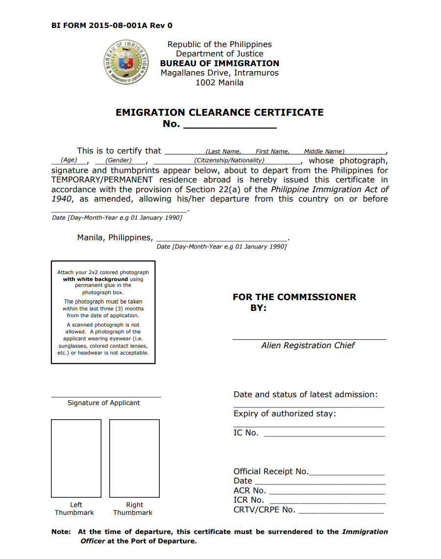 Emigration Clearance Certificate – For Foreigners with Visas and Permits Leaving the Philippines 04