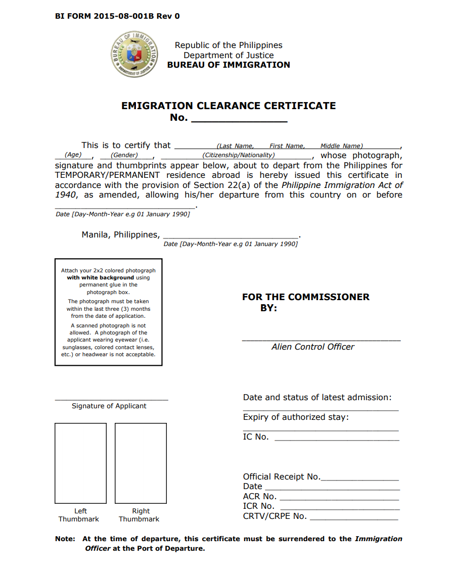 Emigration Clearance Certificate – For Foreigners with Visas and Permits Leaving the Philippines 05