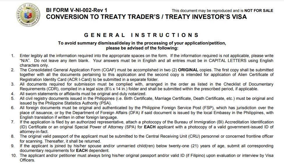 Getting a Philippines Treaty Trader's Visa or Treaty Investor's Visa (9D Visa)