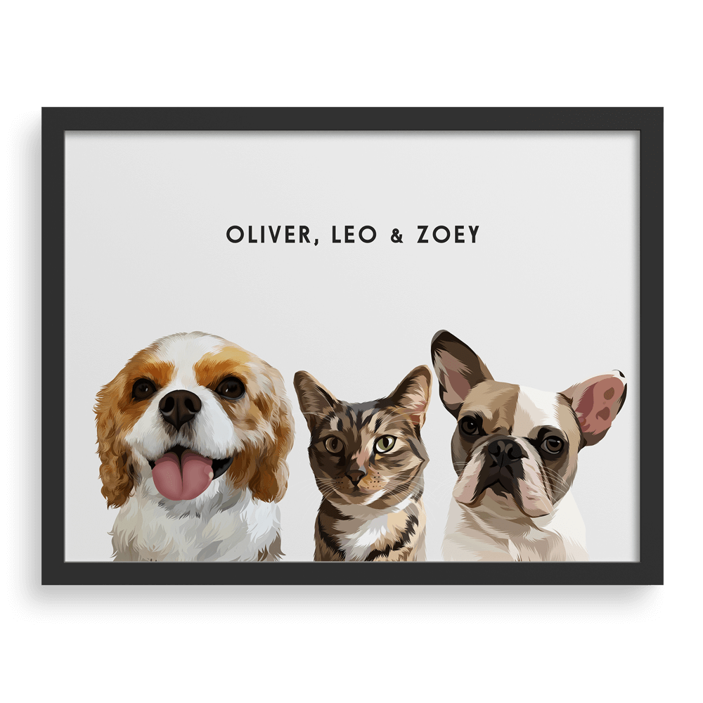 Custom Framed Pet Portrait The Perfect Gift for Cats and Dogs Owners