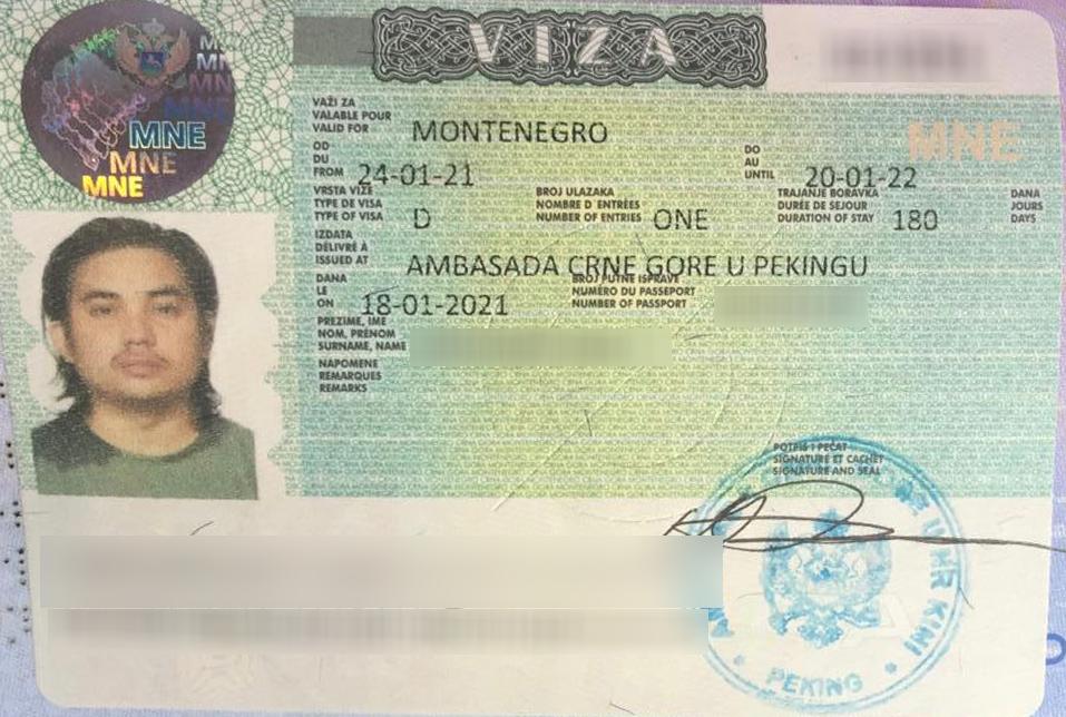 Montenegro D Visa